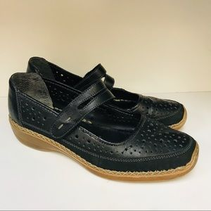 Rieker Mary Jane Shoes 39 Us 8/8.5 Leather Black